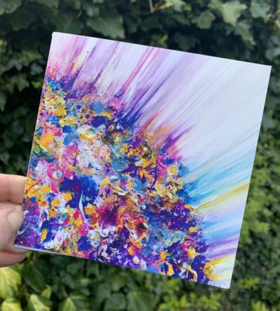 Colourful, abstract greetings card, blank inside, with envelope. Pretty, Springtime, Easter colours.